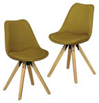 STUHL-SET in Textil Currygelb  - Currygelb/Eichefarben, Design, Holz/Textil (48/87/42cm) - Carryhome