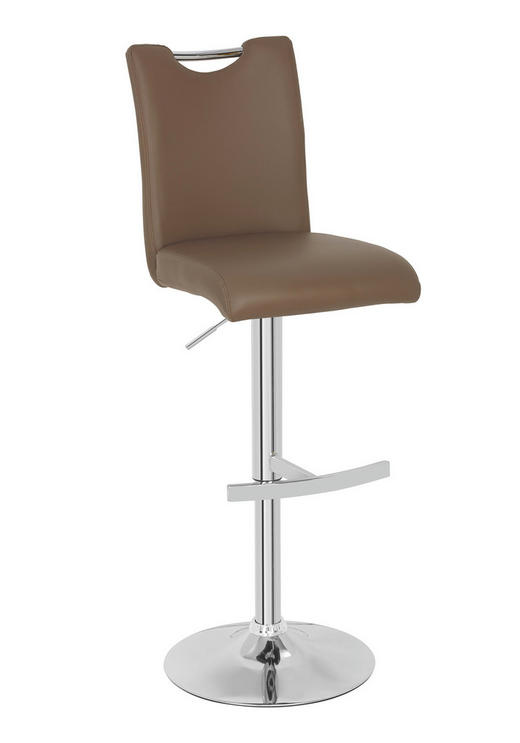 BARHOCKER Lederlook Braun, Chromfarben - Chromfarben/Braun, MODERN, Textil/Metall (42/98-120/52cm) - NOVEL