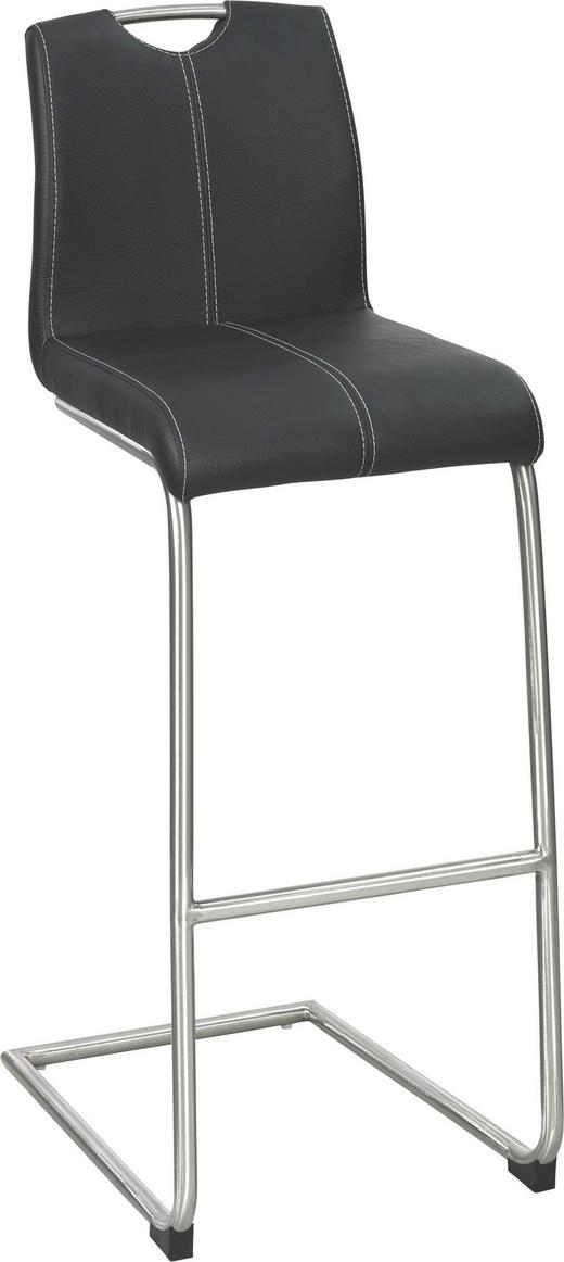 BARHOCKER Lederlook Edelstahlfarben, Schwarz - Edelstahlfarben/Beige, Design, Textil/Metall (40,5/109/53,5cm) - Xora