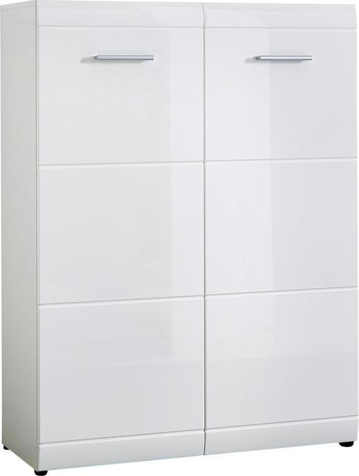 SCHUHSCHRANK Hochglanz, lackiert Weiß - Silberfarben/Weiß, Design, Holzwerkstoff/Kunststoff (89/120/37cm) - Carryhome