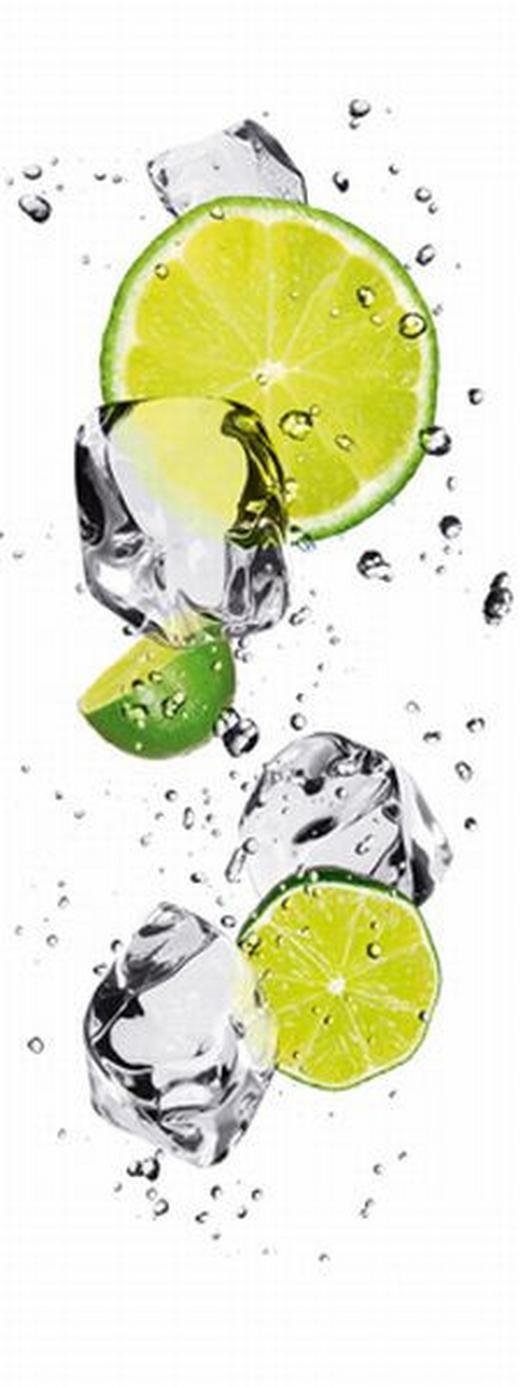 Eiswürfel, Essen & Trinken, Obst GLASBILD - Weiß/Grün, Basics, Glas (30/80/2cm) - EUROGRAPHICS