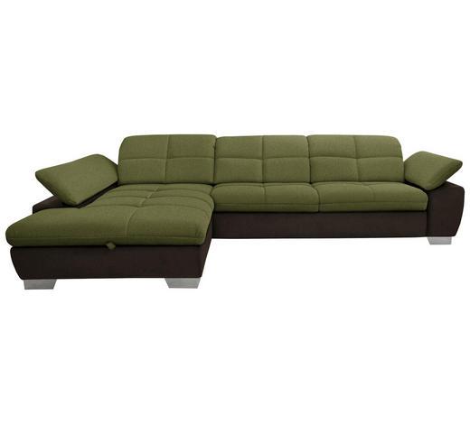 WOHNLANDSCHAFT in Textil Braun, Grün  - Chromfarben/Braun, Design, Textil/Metall (204/297cm) - Xora