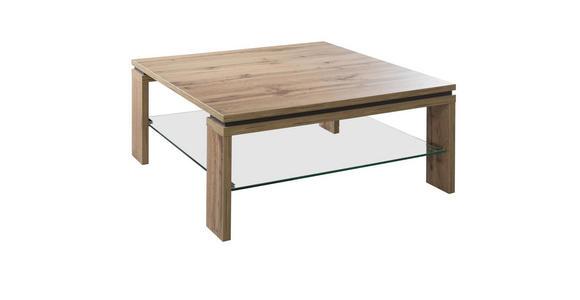 COUCHTISCH quadratisch Grau, Eichefarben  - Eichefarben/Grau, KONVENTIONELL, Glas (90/90/40cm) - Cantus