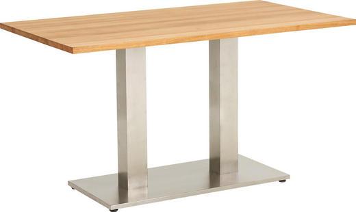 ESSTISCH Eiche massiv rechteckig Edelstahlfarben, Eichefarben - Edelstahlfarben/Eichefarben, Design, Holz/Metall (140/80/77cm) - Dieter Knoll