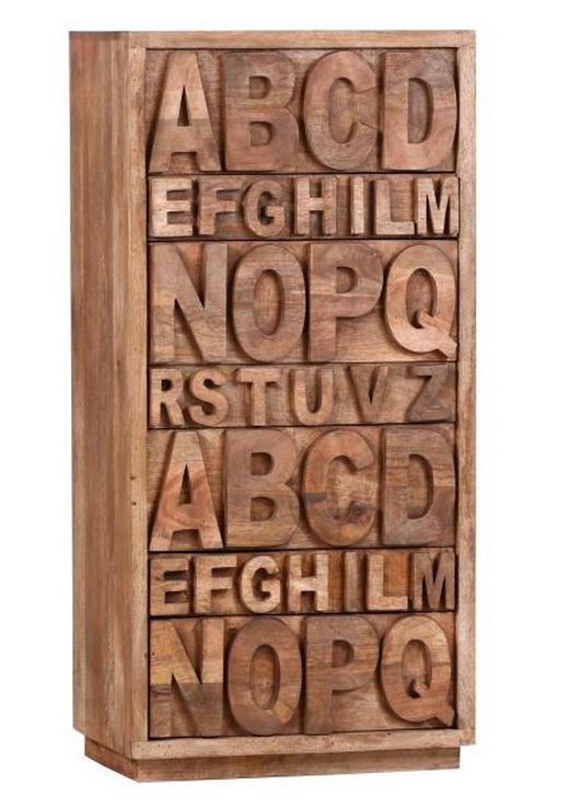 KOMMODE Mangoholz massiv Hellbraun - Hellbraun, Basics, Holz (60/125/40cm)