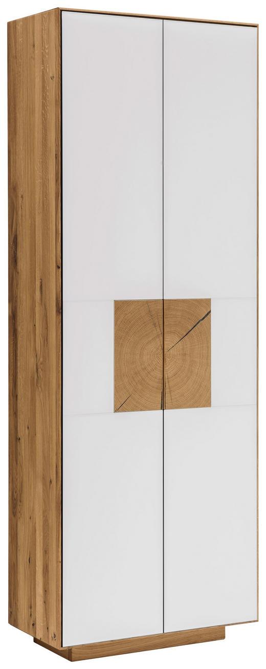 SCHUHSCHRANK 72/198/37 cm - Eichefarben/Weiß, MODERN, Glas/Holz (72/198/37cm) - Linea Natura