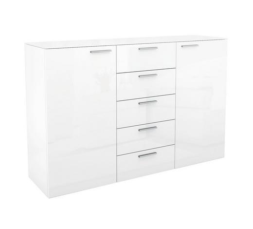 KOMMODE Hochglanz Weiß - Chromfarben/Weiß, Design, Glas (150/96,9/40,1cm) - Hülsta