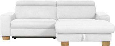 WOHNLANDSCHAFT in Textil Weiß - Eichefarben/Weiß, Design, Textil (262/178cm) - Hom`in