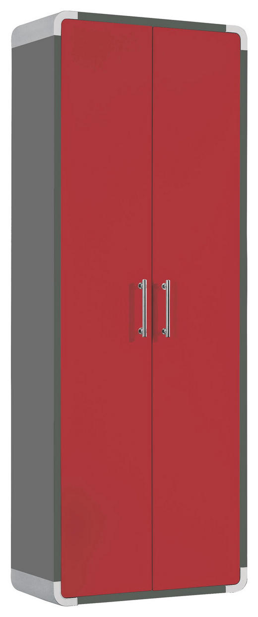 GARDEROBENSCHRANK - Chromfarben/Rot, Design, Holzwerkstoff/Metall (60/164/32cm) - Moderano