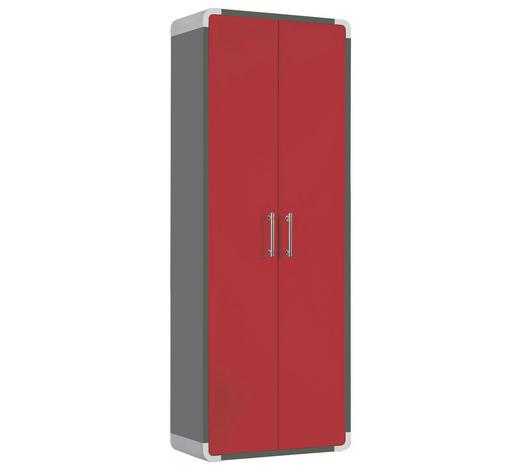 GARDEROBENSCHRANK Grau, Rot  - Chromfarben/Rot, Design, Metall (60/164/32cm) - Moderano