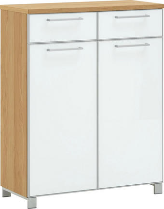 SCHUHSCHRANK Eiche furniert lackiert Eichefarben, Weiß - Chromfarben/Eichefarben, Design, Glas/Holz (84/108/37cm)