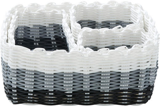 Regalkorb-Set - Schwarz/Weiß, LIFESTYLE, Kunststoff - LANDSCAPE