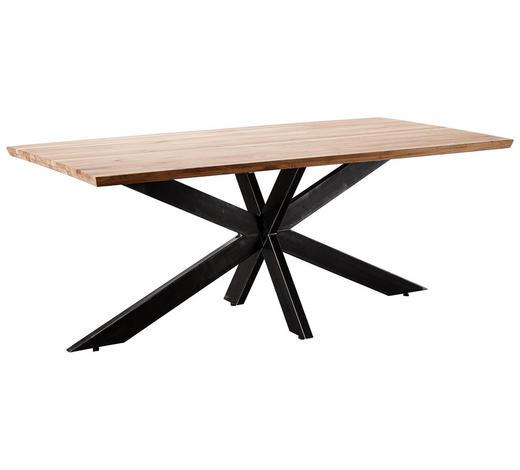 ESSTISCH Wildeiche massiv rechteckig Eichefarben  - Eichefarben, Design, Holz/Metall (200/100/77cm) - Linea Natura