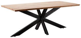 ESSTISCH Wildeiche massiv rechteckig Eichefarben  - Eichefarben/Schwarz, Design, Holz/Metall (200/100/77cm) - Linea Natura