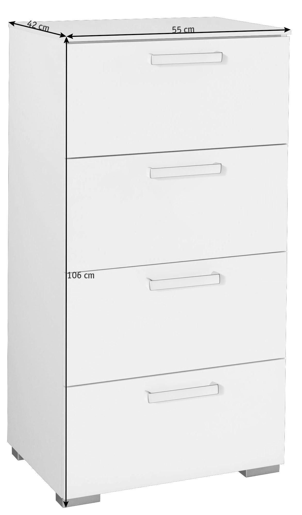 KOMMODE Weiß - Silberfarben/Alufarben, Design, Kunststoff/Metall (55/106/42cm) - HOM`IN