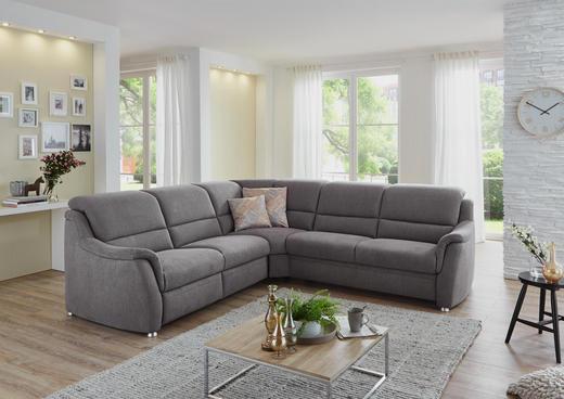 WOHNLANDSCHAFT Velours - Alufarben/Grau, Design, Textil (268/268cm) - Beldomo Comfort