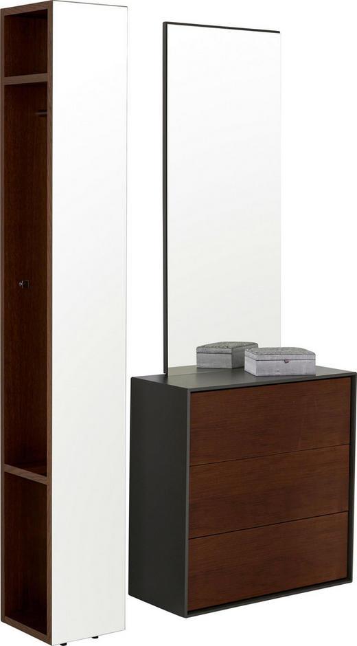 GARDEROBE - Eichefarben/Grau, Design, Glas/Holz (135,2/210,8/34,2cm) - Hülsta