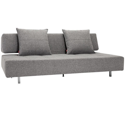 SCHLAFSOFA in Textil Grau  - Edelstahlfarben/Grau, Design, Textil/Metall (210/79/113cm) - Innovation
