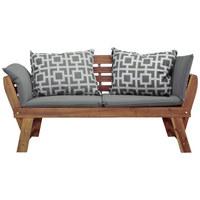 GARTENBANK Akazie massiv - Akaziefarben/Grau, Design, Holz/Textil (190/75/67cm) - Ambia Garden