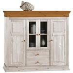 HIGHBOARD Kiefer massiv Weiß, Kieferfarben  - Braun/Weiß, ROMANTIK / LANDHAUS, Glas/Holz (156,5/141/45cm) - Carryhome