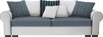 BIGSOFA in Hellgrau, Weiß Textil - Hellgrau/Braun, Trend, Kunststoff/Textil (256/74-90/106cm) - Hom`in