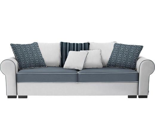 BIGSOFA Mikrofaser Weiß, Hellgrau  - Hellgrau/Weiß, ROMANTIK / LANDHAUS, Kunststoff/Textil (256/74-90/106cm) - Hom`in