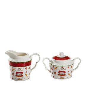 MJÖLK- OCH SOCKERSET - röd/multicolor, Basics, keramik (0,325/0,25l) - X-Mas