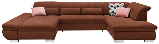 WOHNLANDSCHAFT in Textil Braun  - Chromfarben/Braun, Design, Kunststoff/Textil (204/350/211cm) - Xora