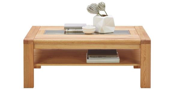 COUCHTISCH in Glas, Holz 115/65/45 cm - Eichefarben, KONVENTIONELL, Glas/Holz (115/65/45cm) - Valnatura
