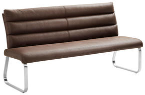 SITTBÄNK - mörkbrun/rostfritt stål-färgad, Design, metall/textil (180/94,5/70cm) - Cantus