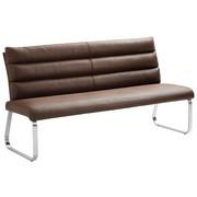SITZBANK in Metall, Textil Dunkelbraun, Edelstahlfarben - Edelstahlfarben/Dunkelbraun, Design, Textil/Metall (180/94,5/70cm) - Cantus