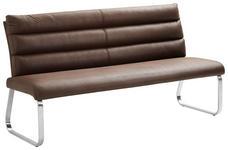 SITZBANK 180/94,5/70 cm  in Edelstahlfarben, Dunkelbraun  - Edelstahlfarben/Dunkelbraun, Design, Textil/Metall (180/94,5/70cm) - Cantus