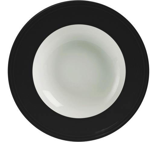 TALÍŘ NA POLÉVKU, porcelán - bílá/černá, Design, keramika (23cm) - Novel