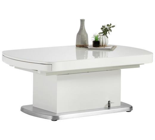 COUCHTISCH in Metall, Glas, Holzwerkstoff 120-180/75/50-78 cm   - Silberfarben/Weiß, Design, Glas/Holzwerkstoff (120-180/75/50-78cm) - Venda