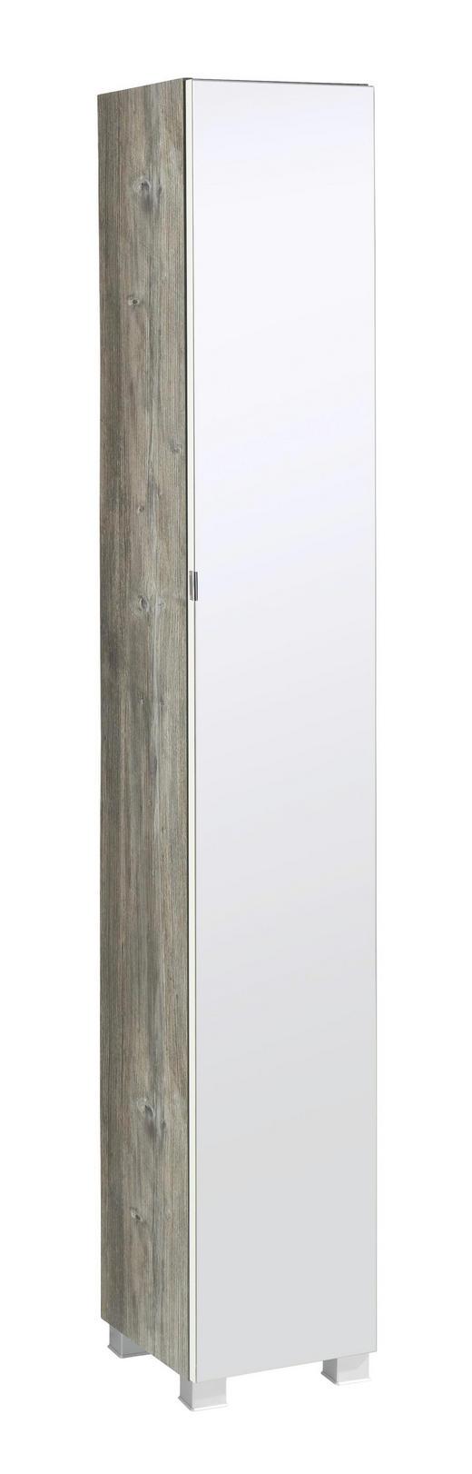 HOCHSCHRANK - Eichefarben/Silberfarben, Design, Glas/Holzwerkstoff (30/180/27cm) - Carryhome