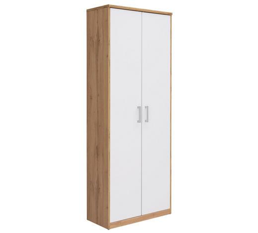 MEHRZWECKSCHRANK Weiß, Eichefarben - Eichefarben/Silberfarben, Basics, Holzwerkstoff/Kunststoff (72/194/36cm) - Xora