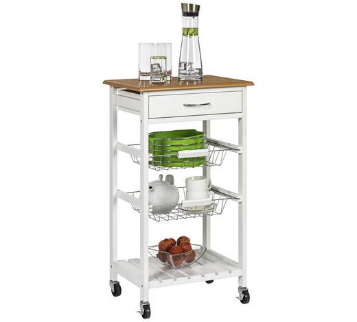SERVIERWAGEN in Weiß - Silberfarben/Weiß, Trend, Holzwerkstoff/Kunststoff (47/84/37cm)