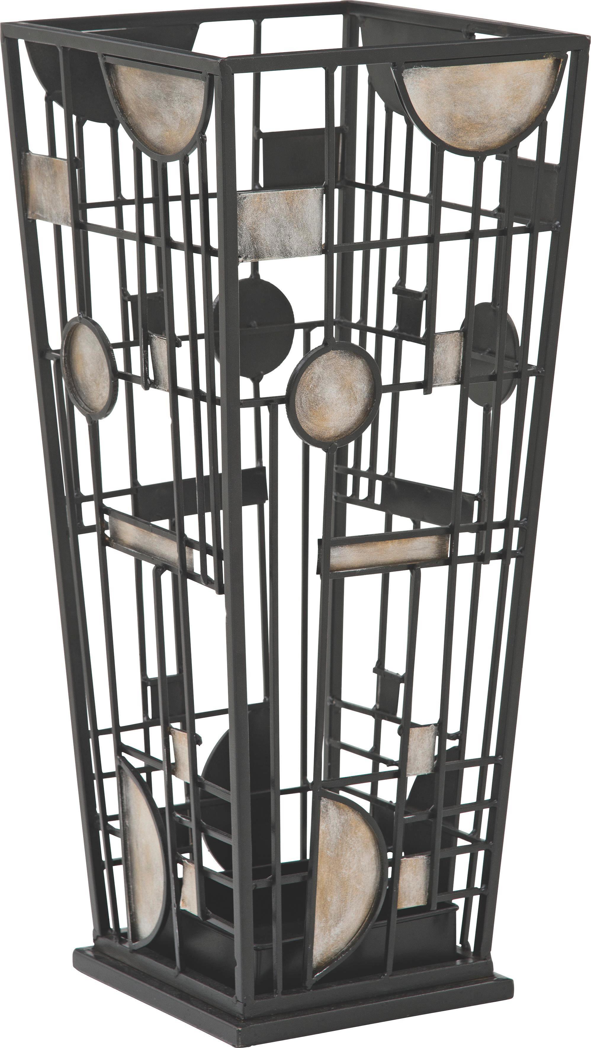 SCHIRMSTÄNDER - Silberfarben/Schwarz, Design, Metall (23/53/23cm)