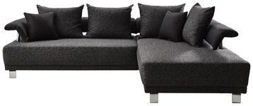 WOHNLANDSCHAFT Anthrazit, Graphitfarben Struktur - Anthrazit/Silberfarben, Design, Textil/Metall (261/195cm) - Hom`in