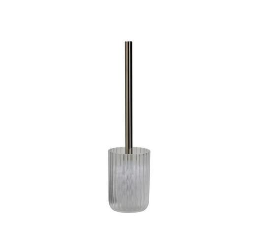 WC-BÜRSTENGARNITUR in Kunststoff - Alufarben/Weiß, Basics, Kunststoff (9,1/36,8cm) - Kleine Wolke