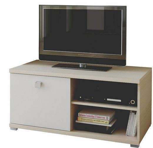 TV-ELEMENT Eschefarben, Weiß - Eschefarben/Silberfarben, Design, Holzwerkstoff/Kunststoff (100/48,3/58,1cm) - Welnova
