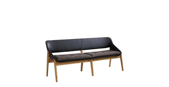 SITZBANK 180/81/55 cm  in Dunkelgrau, Eichefarben, Schwarz - Eichefarben/Dunkelgrau, Design, Leder/Holz (180/81/55cm) - Valnatura