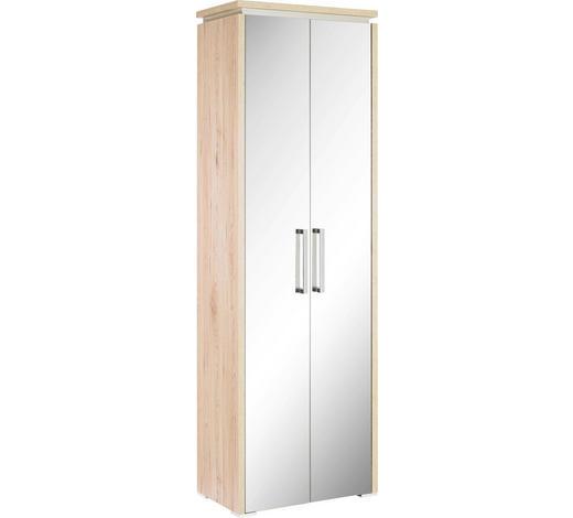 MEHRZWECKSCHRANK Eichefarben  - Eichefarben/Silberfarben, Design, Glas/Holzwerkstoff (62/191/37cm) - Moderano