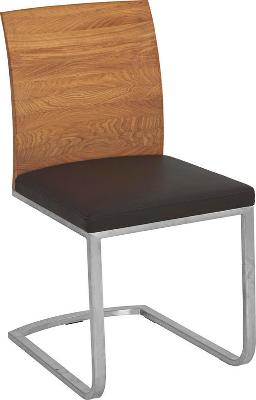 SCHWINGSTUHL in Holz, Metall, Textil Braun, Eichefarben, Nickelfarben - Eichefarben/Braun, Design, Holz/Textil (47/89,5/57cm) - Cassando