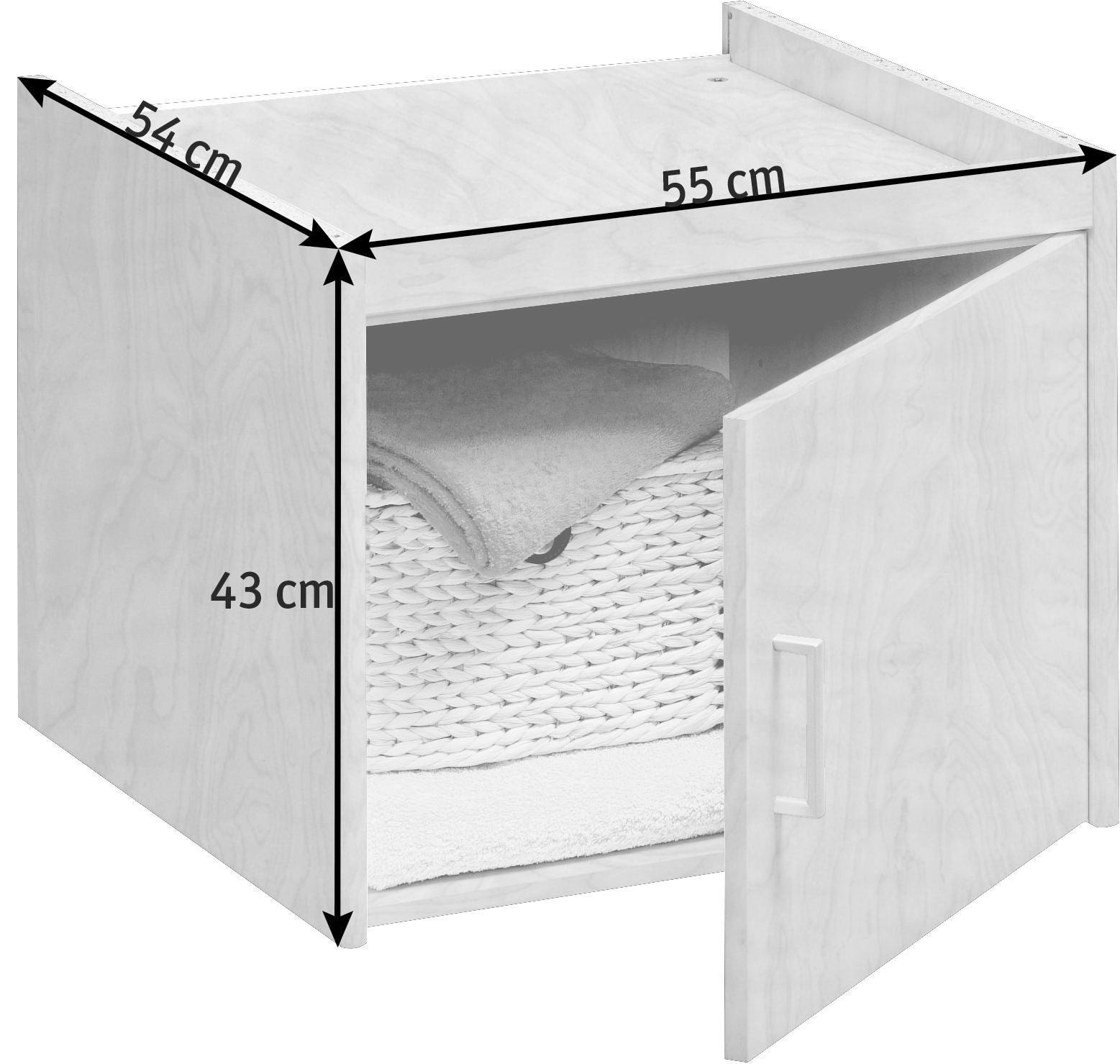 AUFSATZSCHRANK - Silberfarben/Ahornfarben, KONVENTIONELL, Holzwerkstoff/Kunststoff (55/43/54cm) - CS SCHMAL