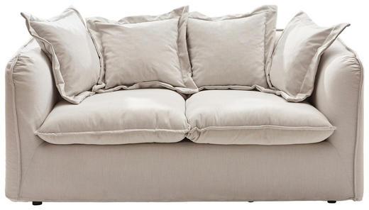 ZWEISITZER-SOFA Webstoff Beige - Beige/Schwarz, Design, Kunststoff/Textil (180/80-95/92cm) - Ambia Home