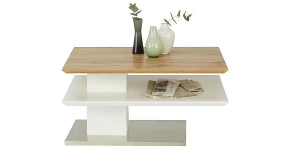 COUCHTISCH in Metall, Holzwerkstoff 80/60/40 cm   - Edelstahlfarben/Eichefarben, Design, Holzwerkstoff/Metall (80/60/40cm) - Xora