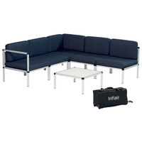 LOUNGEGARNITUR 15-teilig - Alufarben/Dunkelblau, Design, Textil/Metall (210/210cm)