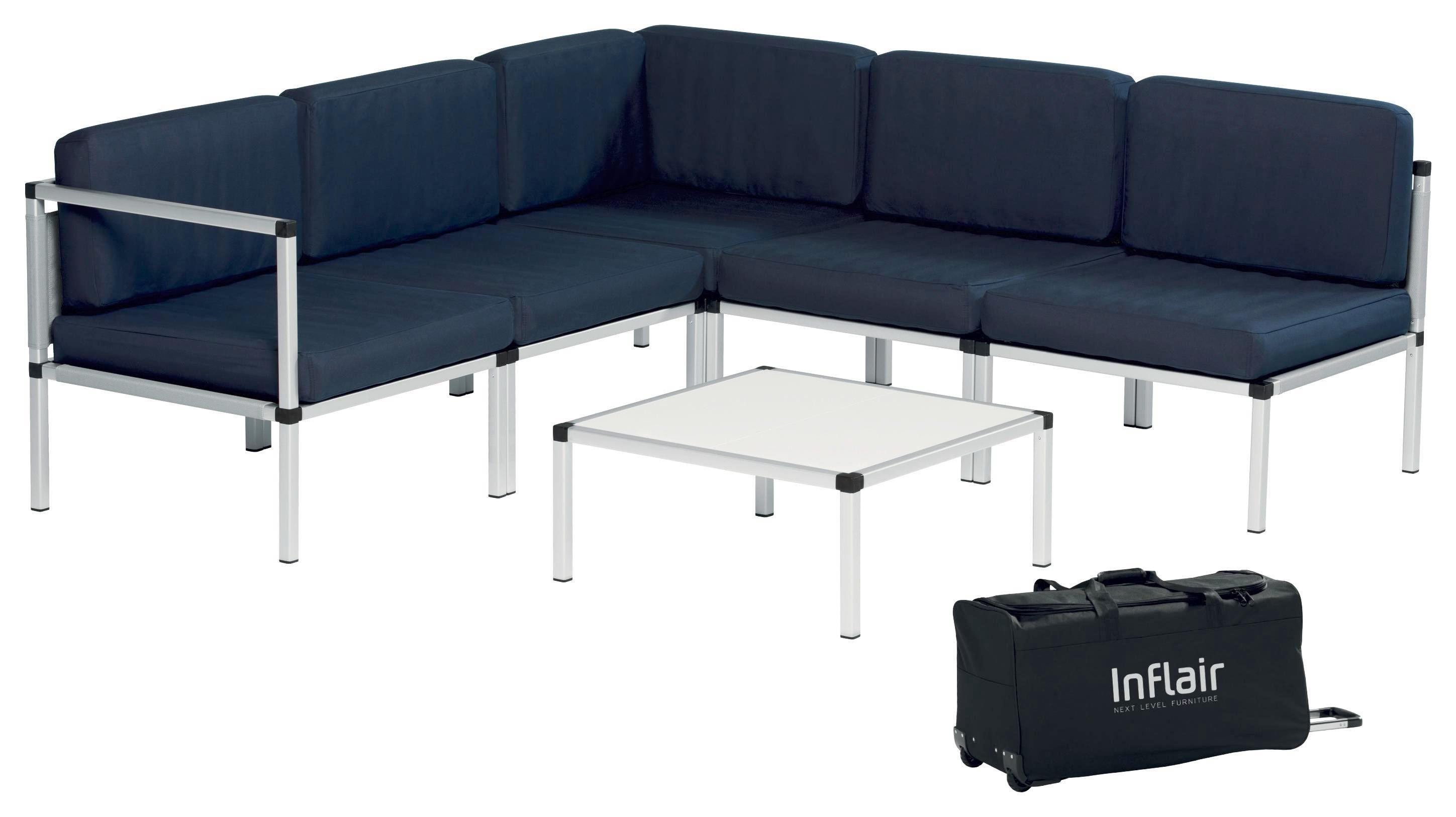 LOUNGEGARNITUR 19-teilig - Alufarben/Dunkelblau, Design, Textil/Metall (210/210cm)
