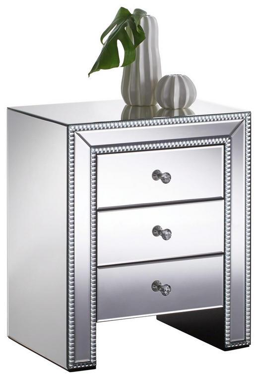 KOMMODE Silberfarben - Klar/Silberfarben, Design, Glas/Kunststoff (55,5/65,5/40cm) - Xora